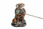 Figurine, Man Fishing, 6cm, Green